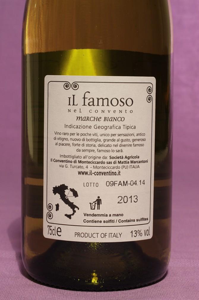 Etichetta posteriore del vino il famoso da 750 millilitri dell'azienda Il Conventino