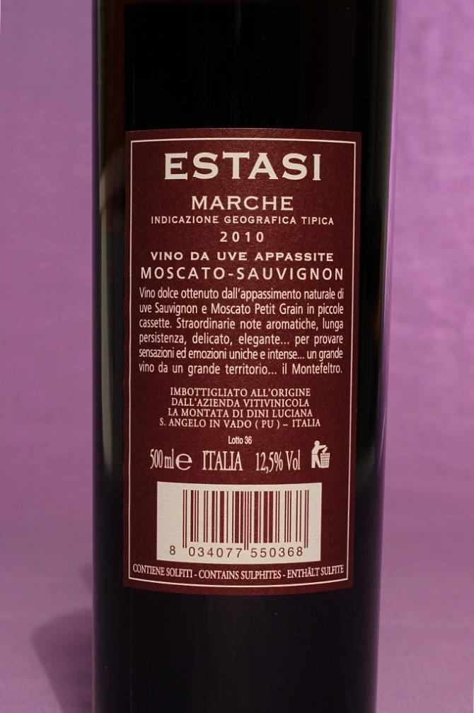 Etichetta posteriore del vino estasi da 500ml dell'azienda vinicola La Montata