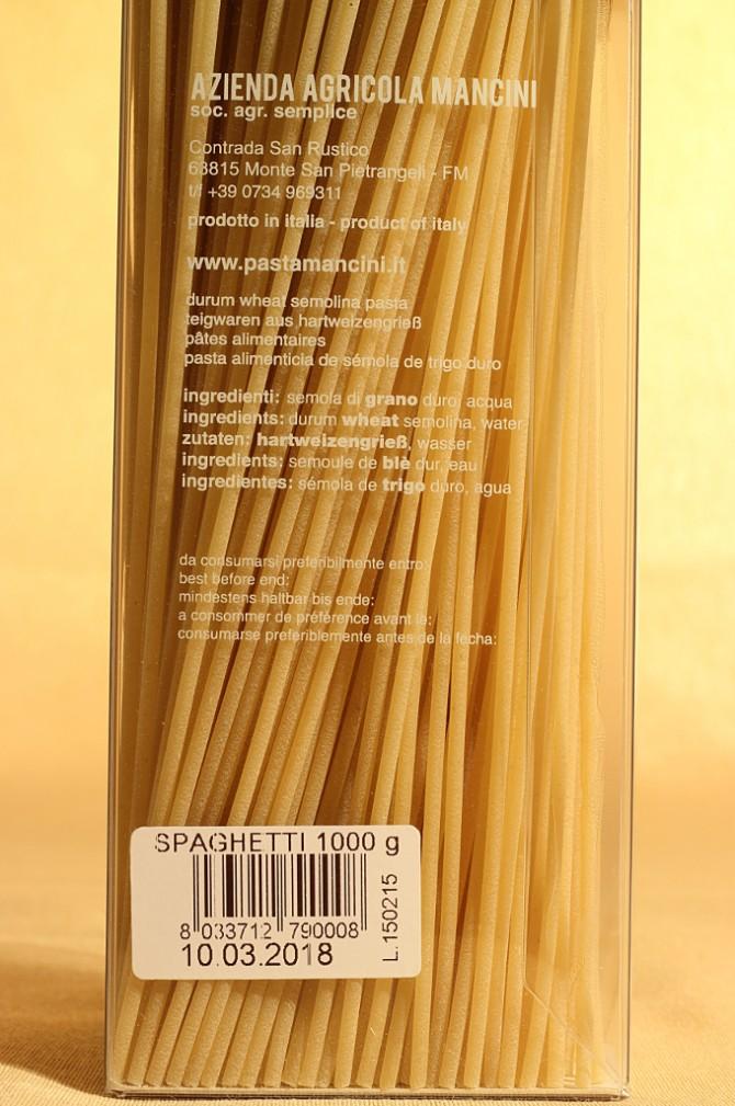 Etichetta degli spaghetti in astuccio da 1 chilogrammo dell'azienda agricola Mancini