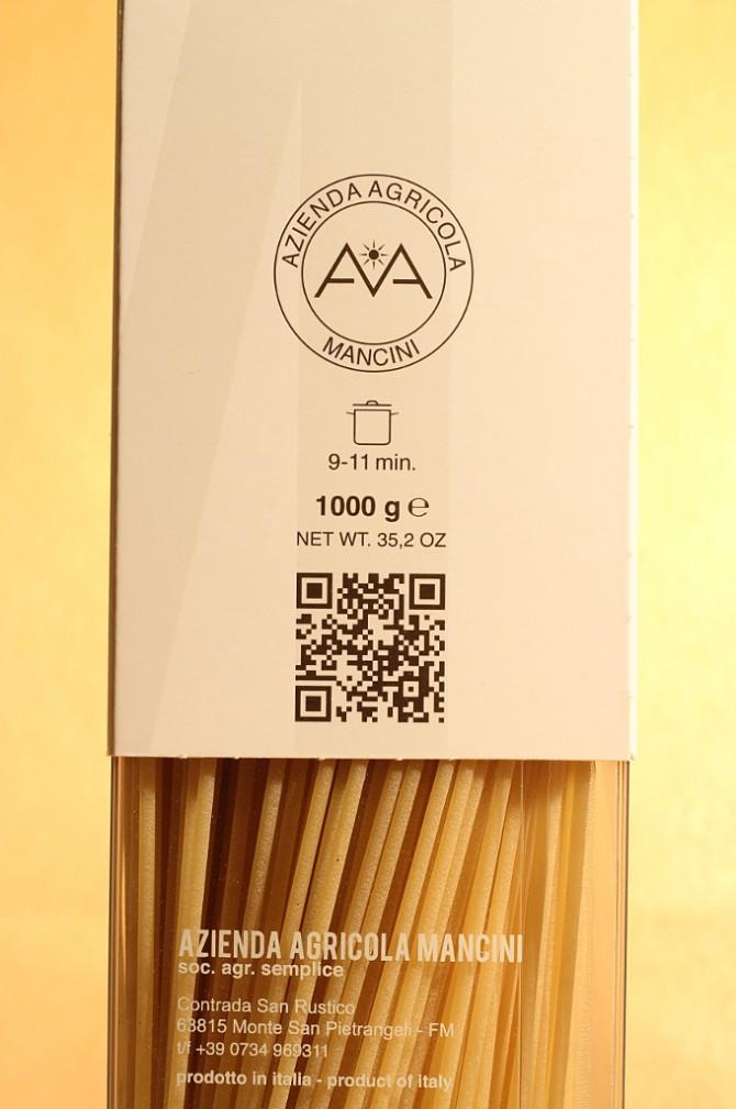 Etichetta posteriore degli spaghetti in astuccio da 1 chilogrammo dell'azienda agricola Mancini