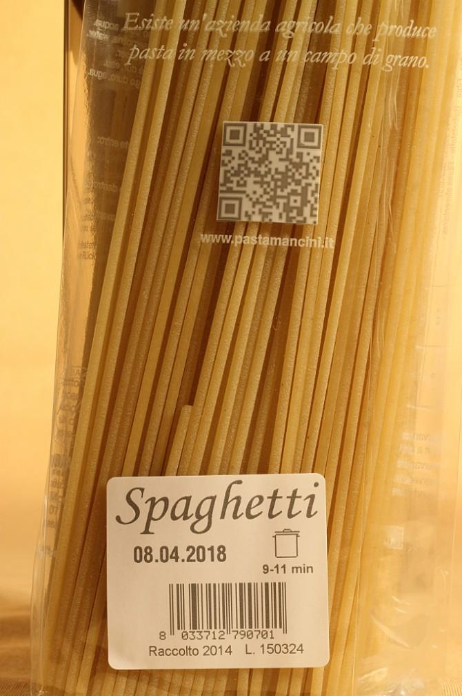 Etichetta degli spaghetti in busta da 500 grammi dell'azienda agricola Mancini