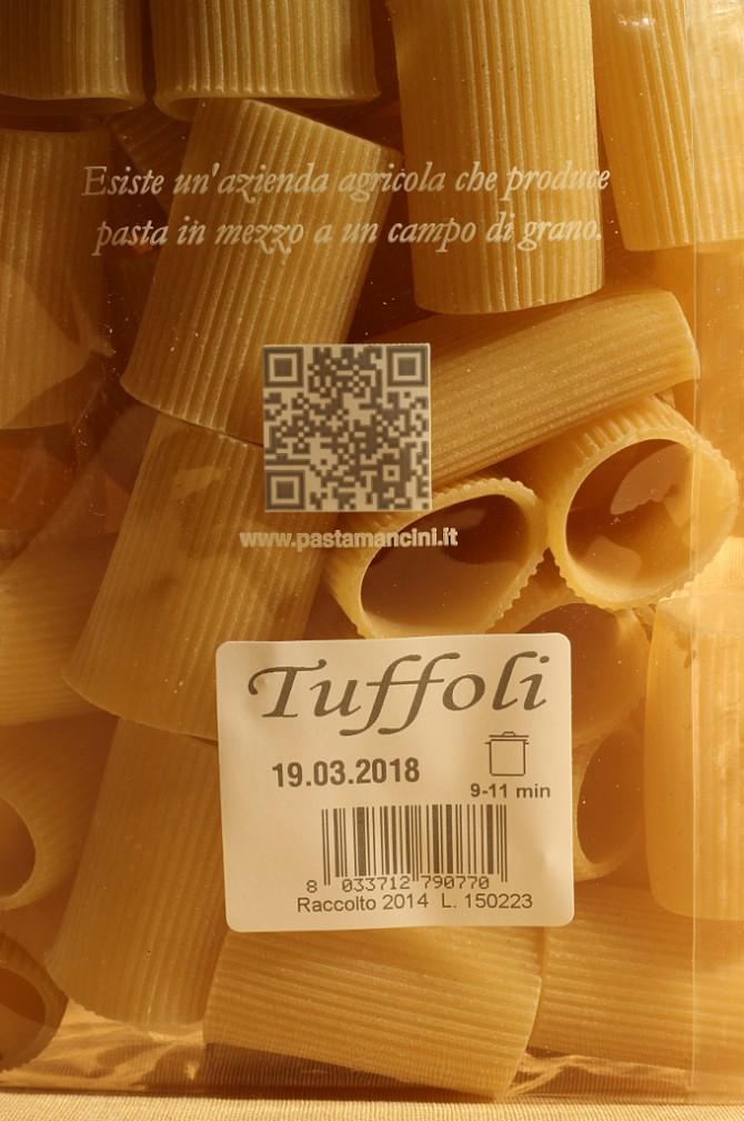 Etichetta posteriore dei tuffoli in astuccio da 1 chilogrammo dell'azienda Mancini