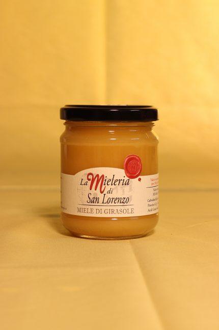 Confezione da 250 grammi del miele di girasole dell'azienda Mieleria di San Lorenzo