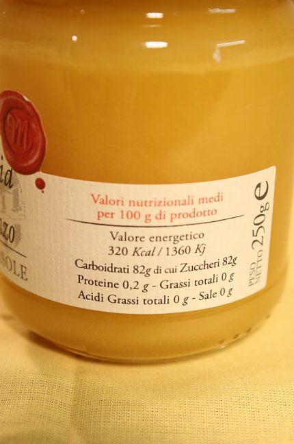 Etichetta della confezione da 250 grammi del miele di girasole dell'azienda Mieleria di San Lorenzo