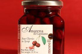 Confezione da 335 grammi di amarene di Cantiano di Morello Austera