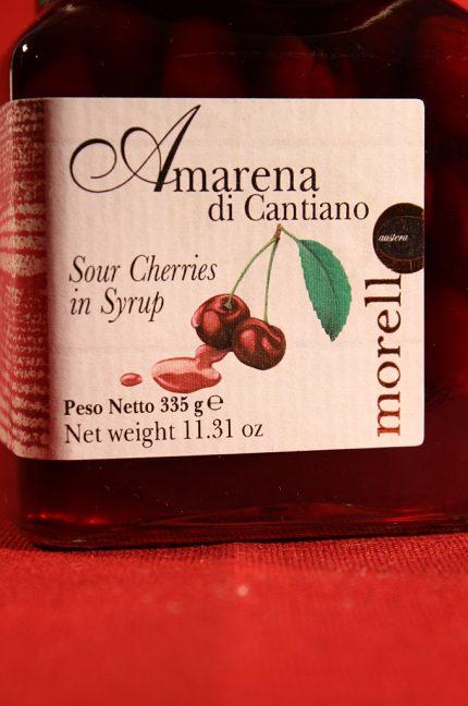 Etichetta anteriore della confezione di amarene di Cantiano di Morello Austera