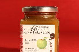 Confezione da 225 grammi della confettura extra di mela verde di Morello Austera