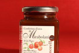 Confezione da 225 grammi della confettura extra di mirabolani di Morello Austera