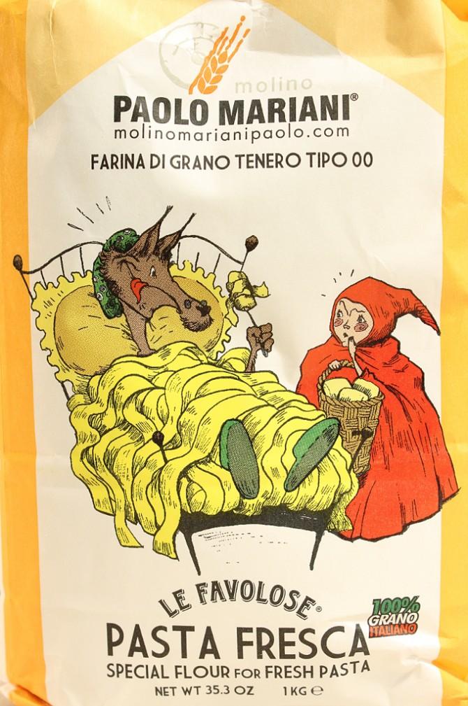 Etichetta della farina per pasta fresca di grano tenero tipo 00 del molino Paolo Mariani