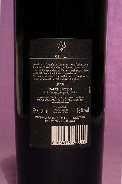 Etichetta posteriore del vino valturio da 750 millilitri dell'azienda Valturio