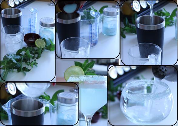 le fasi di realizzazione del cocktail all'anice lalli nel blu dipinto di blu
