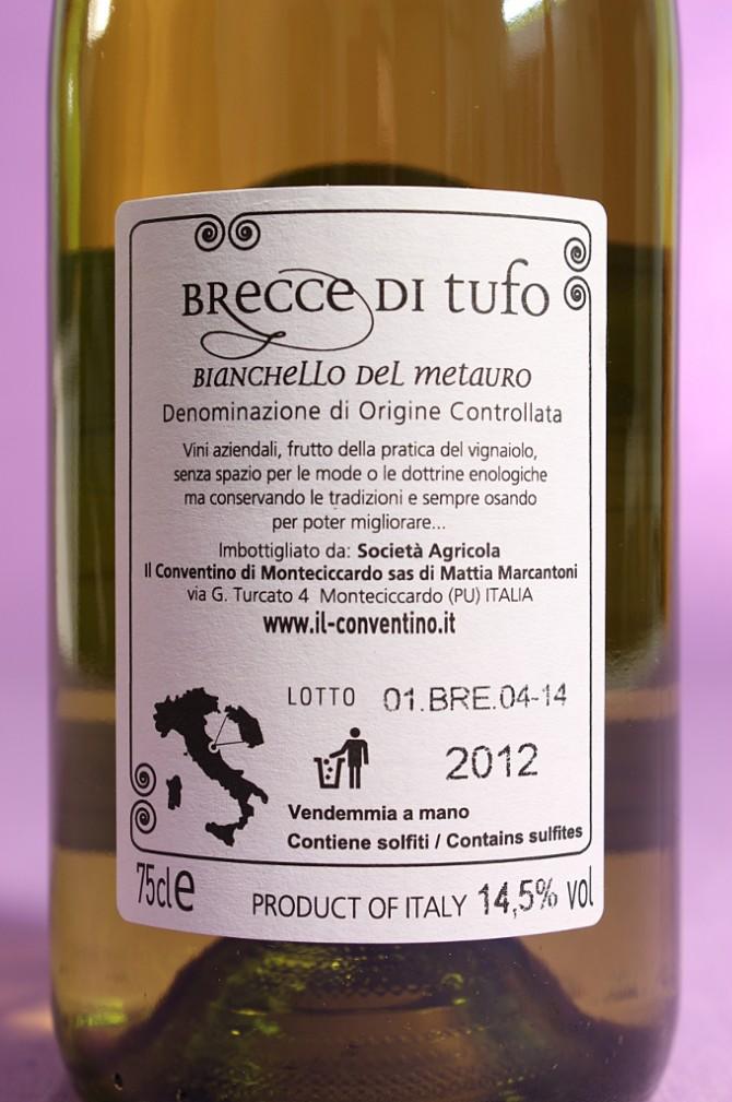 Etichetta posteriore del vino brecce di tufo da 750 millilitri dell'azienda Il Conventino