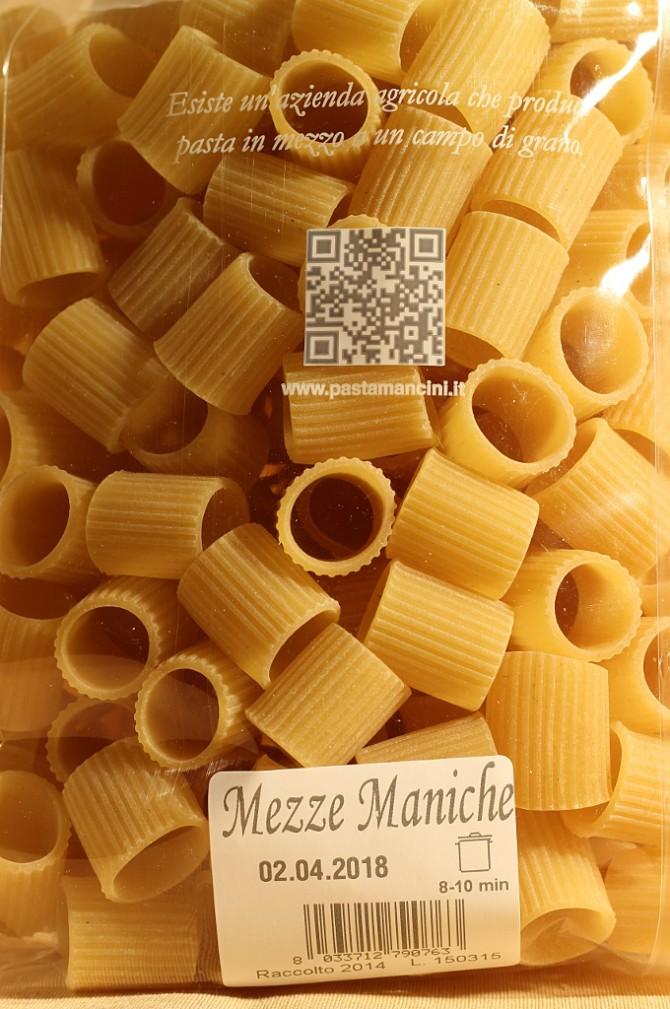 Etichetta mezze maniche in busta da 500 grammi dell'azienda agricola Mancini