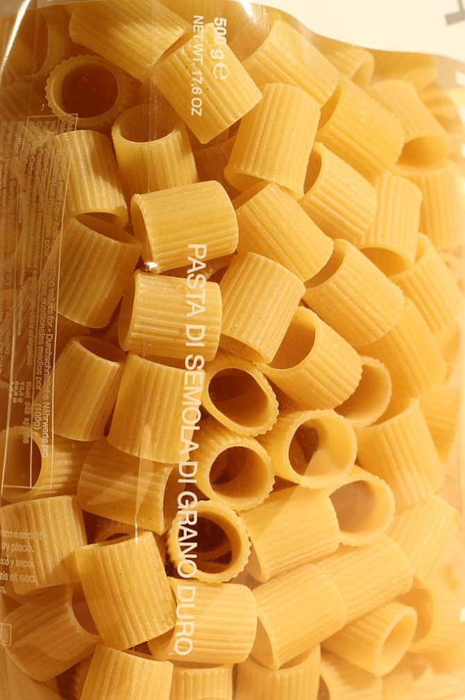 Etichetta posteriore mezze maniche in busta da 500 grammi dell'azienda agricola Mancini