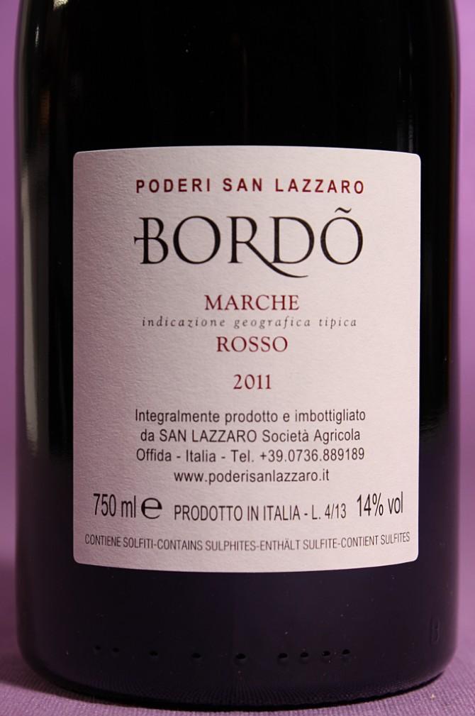 etichetta posteriore del vino Bordò dell'azienda agricola Poderi San Lazzaro