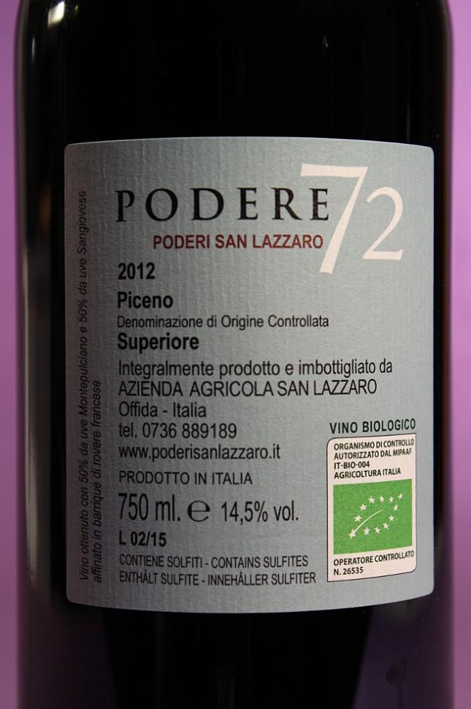 etichetta posteriore del vino Podere 72 dell'azienda agricola Poderi San Lazzaro