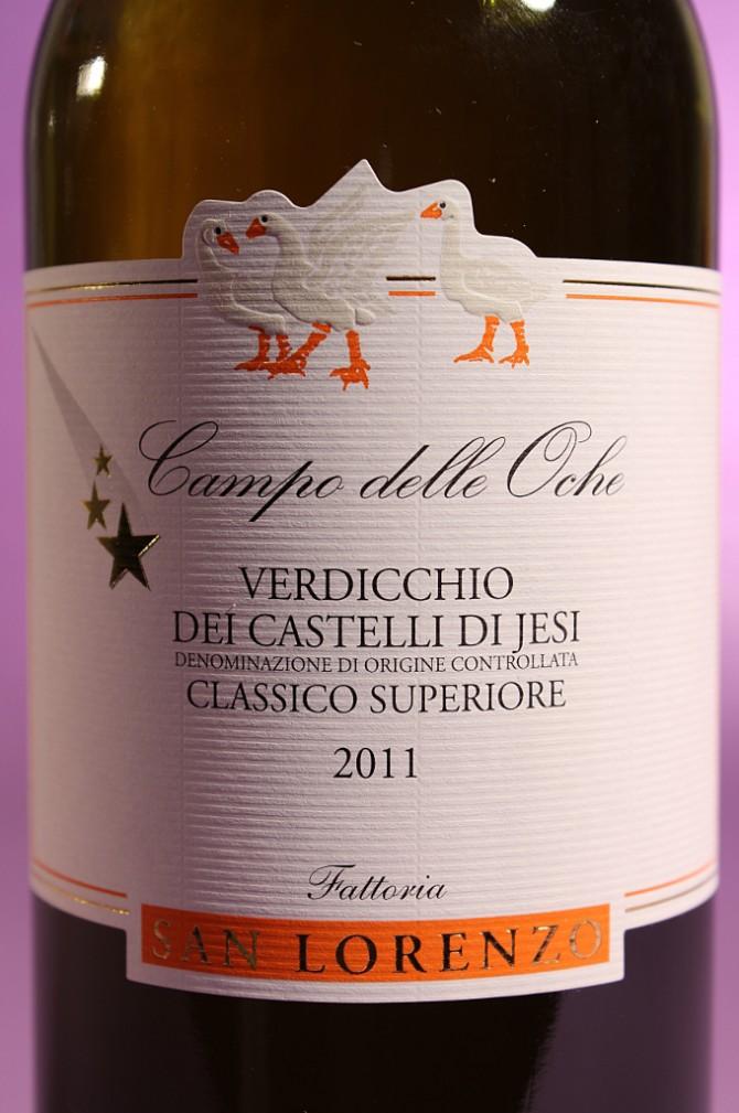 etichetta del vino campo delle oche 2011 da 750 millilitri dell'azienda agricola Fattorie San Lorenzo