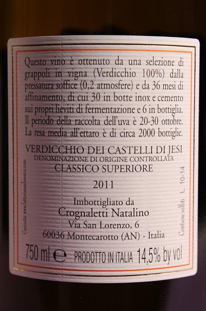 etichetta posteriore del vino campo delle oche 2011 da 750 millilitri dell'azienda agricola Fattorie San Lorenzo