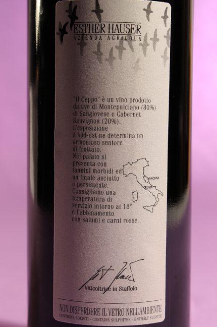 etichetta posteriore del vino il ceppo 2011 da 750 millilitri dell'azienda agricola Esther Hauser