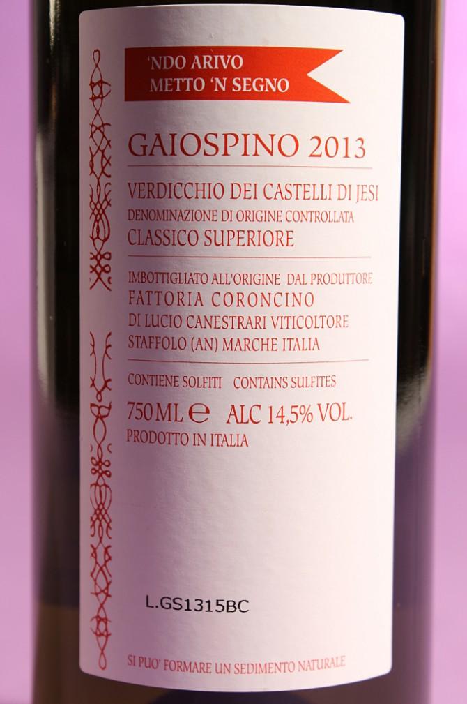 etichetta posteriore del vino gaiospino 2013 da 750 millilitri dell'azienda agricola Fattoria Coroncino