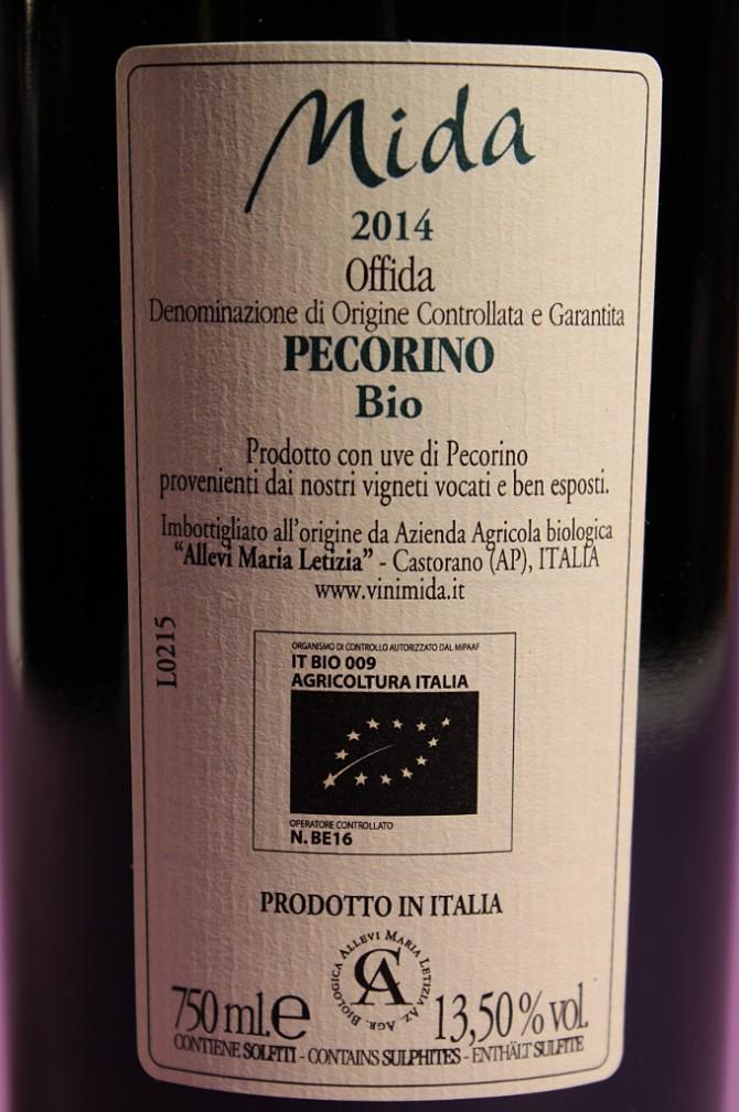 etichetta posteriore del vino mida pecorino 2014 prodotto dall'azienda agricola allevi maria letizia