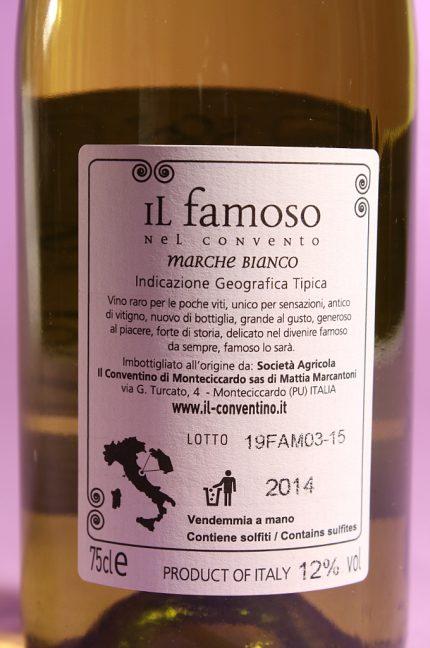 Etichetta posteriore dell'annata 2014 del vino Il Famoso dell'azienda agricola il Conventino di Monteciccardo