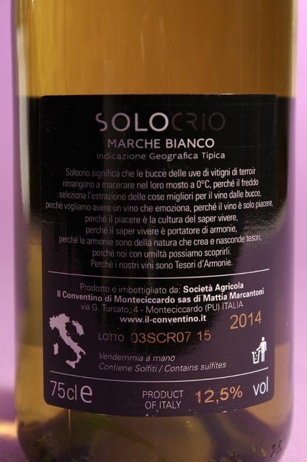 Etichetta posteriore del vino solocrio dell'azienda agricola il conventino di monteciccardo