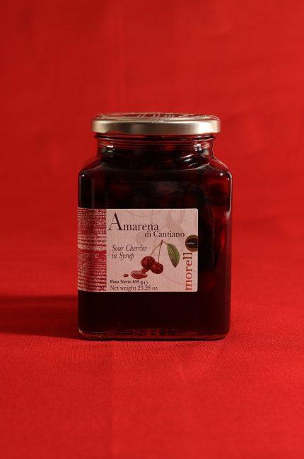 Confezione da 655 grammi di amarene di Cantiano di Morello Austera
