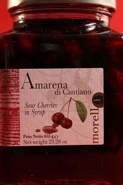 Etichetta anteriore della confezione da 655 grammi di amarene di Cantiano di Morello Austera