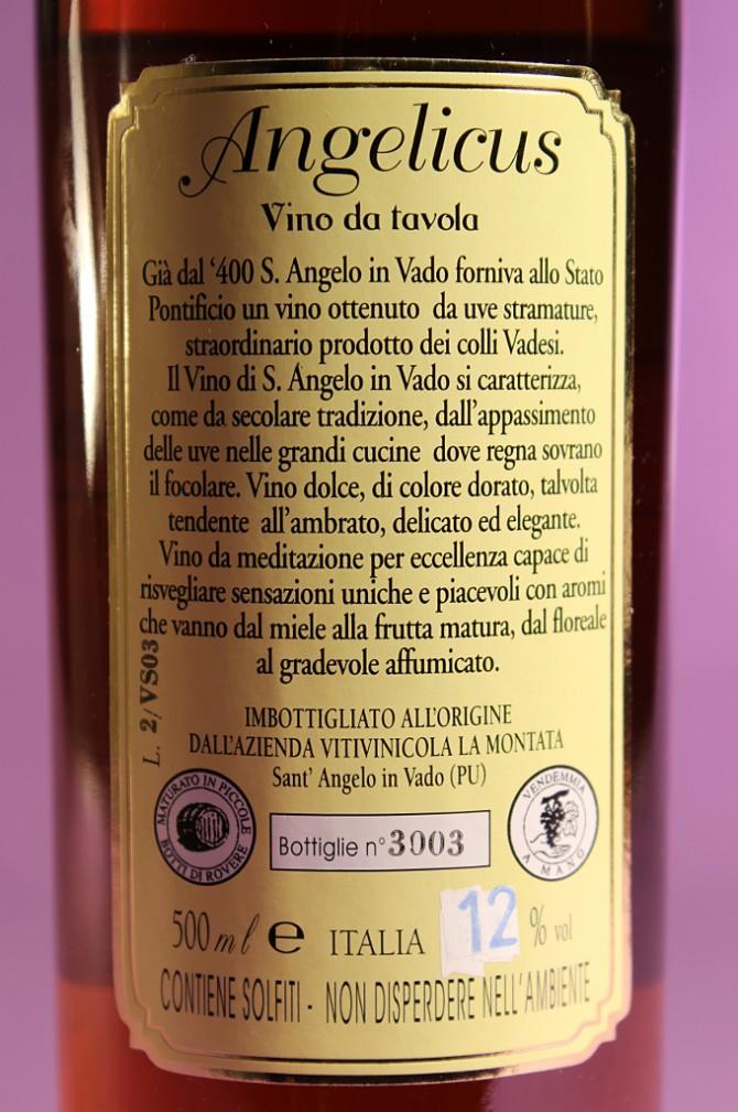 Etichetta posteriore del vino passito e affumicato Angelicus dell'azienda agricola La Montata di Sant'Angelo in Vado (PU)