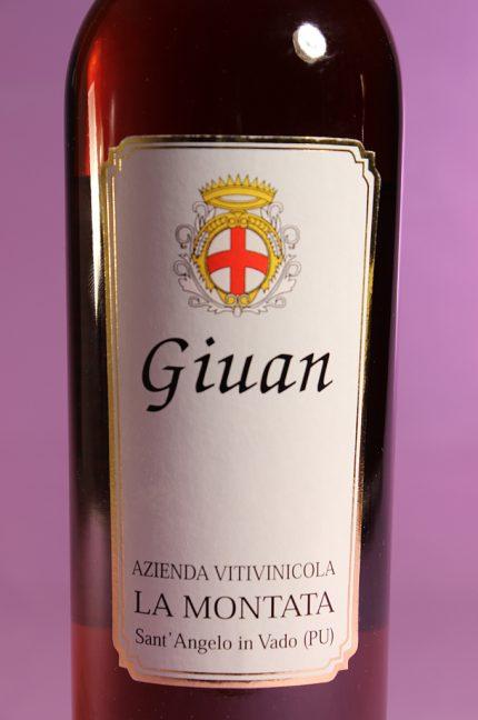 Etichetta del vino Giuan passito muffato e affumicato dell'azienda agricola La Montata in bottiglia da 500 ml