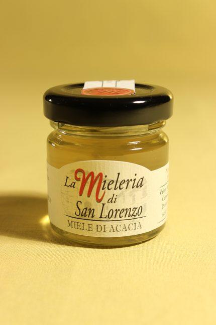 Etichetta del miele di acacia 40 grammi della Mieleria San Lorenzo di San Lorenzo in campo (PU)