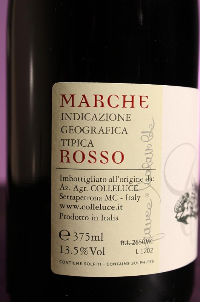 Etichetta posteriore del vino passito 87km della società agricola Colleluce di Serrapetrona (MC)