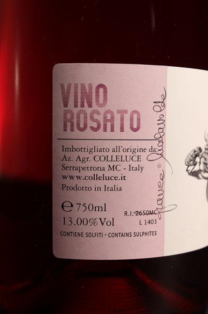 Etichetta posteriore del vino rosato Colleluce della società agricola Colleluce di Serrapetrona (MC)