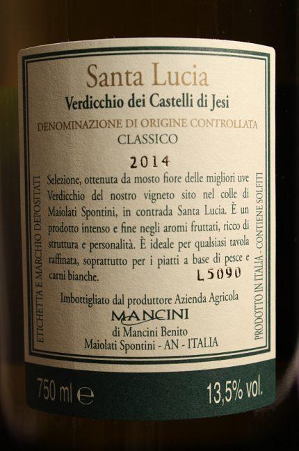 Etichetta posteriore del verdicchio Santa Lucia 2014 dell'azienda agricola Mancini Benito di Maiolati Spontini (Ancona)
