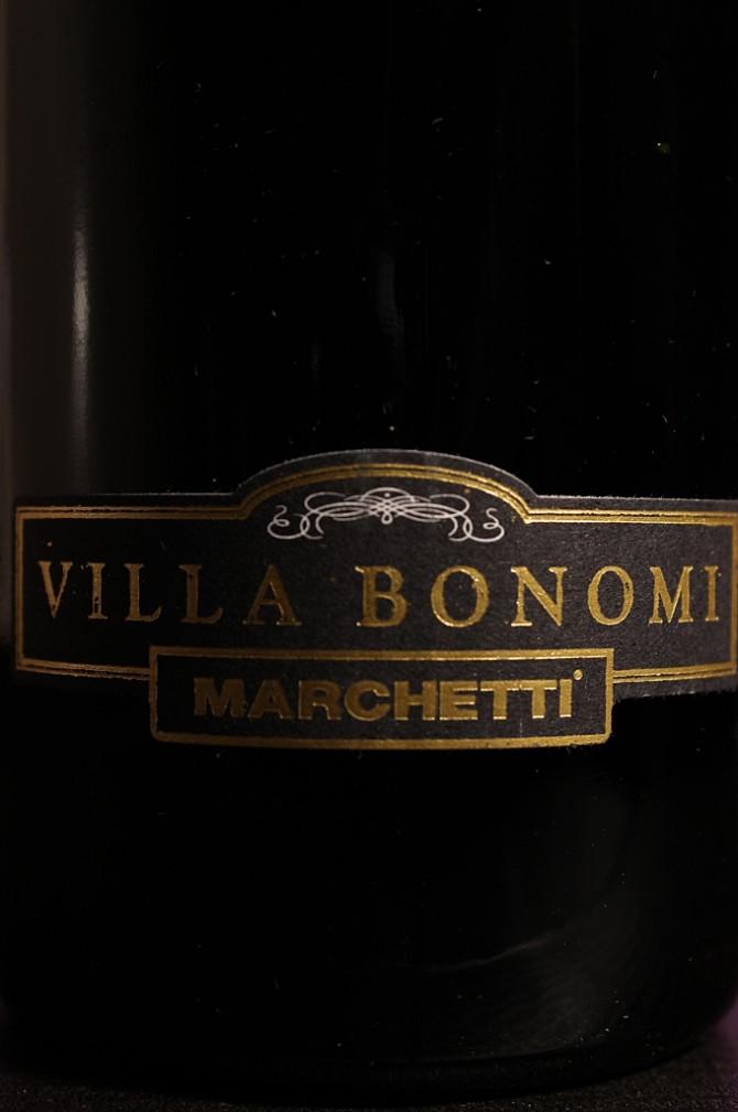 Etichetta del vino rosso Conero Riserva Villa Bonomi 2012 dell'azienda agricola Marchetti di Pontelungo (Ancona)