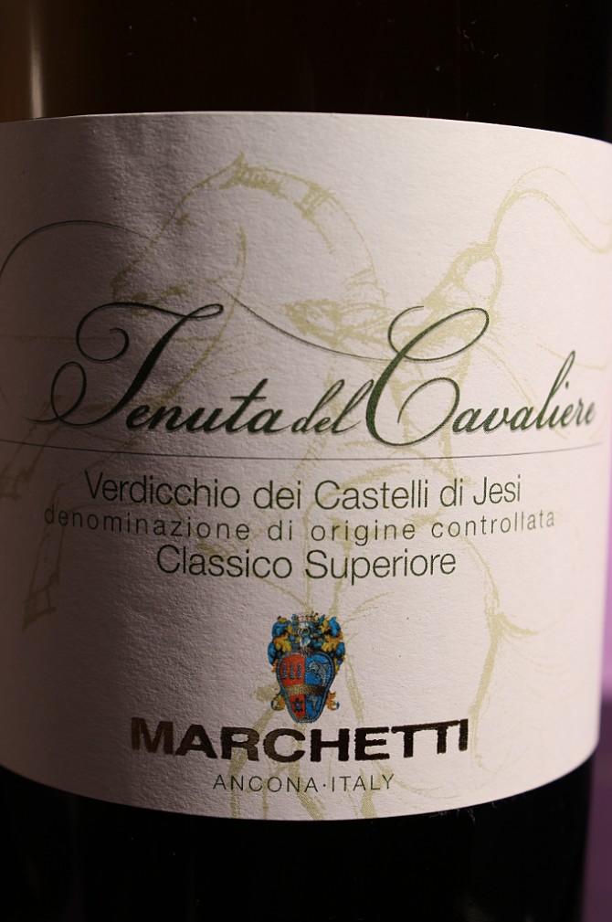 Etichetta del vino bianco Verdicchoi dei Castelli di Jesi Tenuta del Cavaliere 2014 dell'azienda agricola Marchetti di Pontelungo (Ancona)