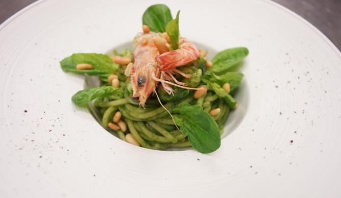Spaghetti Mancini con crema di spinaci e Mazzancolle