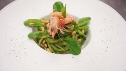 Spaghetti Mancini Spinaci e Mazzancolle