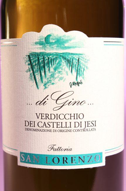Etichetta del vino di gino 2014 da 750 millilitri dell'azienda agricola Fattorie San Lorenzo