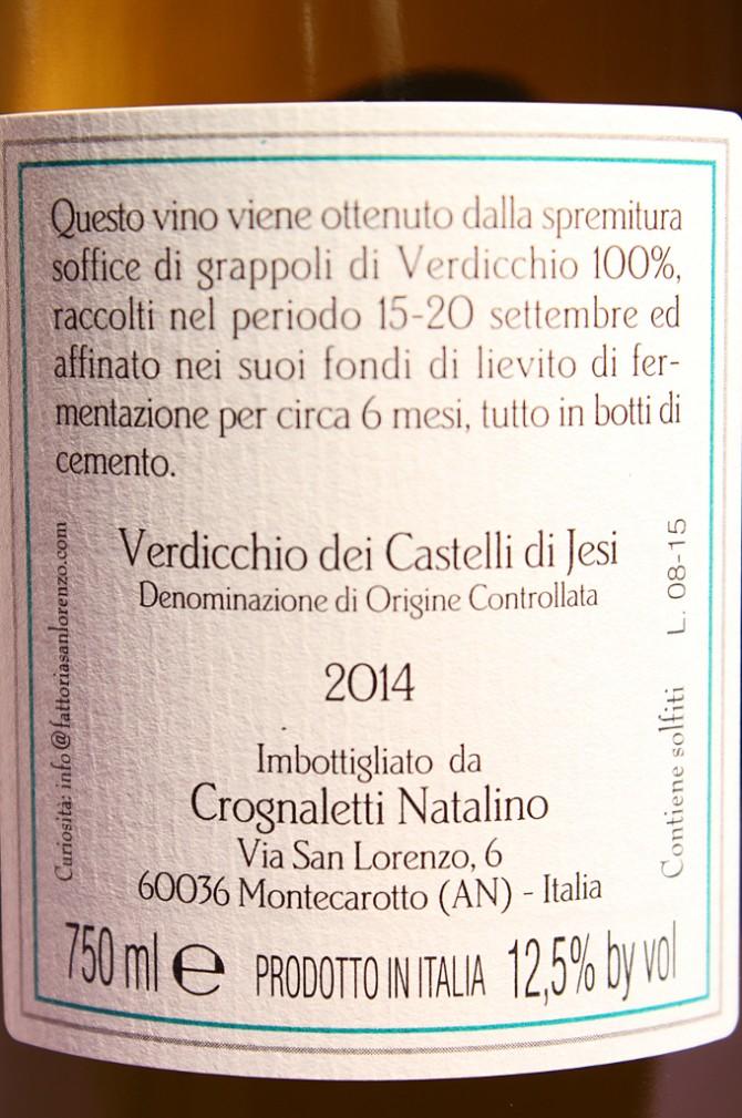 Etichetta posteriore del vino di gino 2014 da 750 millilitri dell'azienda agricola Fattorie San Lorenzo