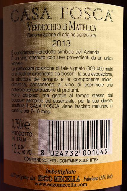 Etichetta posteriore del vino Casa Fosca 2013 Verdicchio di Matelica DOC prodotto dall'Azienda Agricola Enzo Mecella