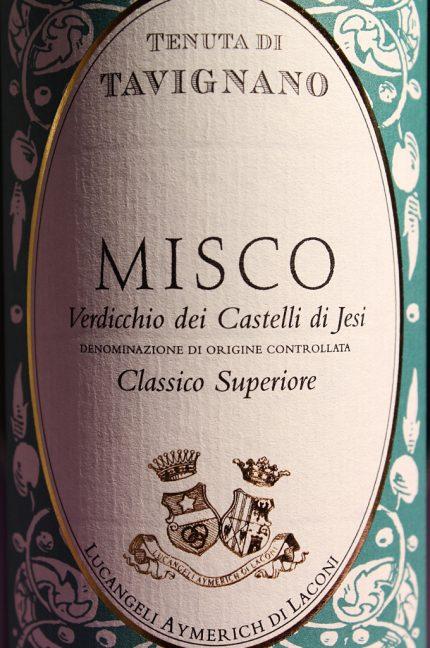 Etichetta del vino Misco 2014 Verdicchio dei Castelli di Jesi Classico Superiore della Tenuta di Tavignano in bottiglia da 750 ml
