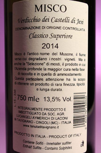 Etichetta posteriore del vino Misco 2014 Verdicchio dei Castelli di Jesi Classico Superiore della Tenuta di Tavignano in bottiglia da 750 ml