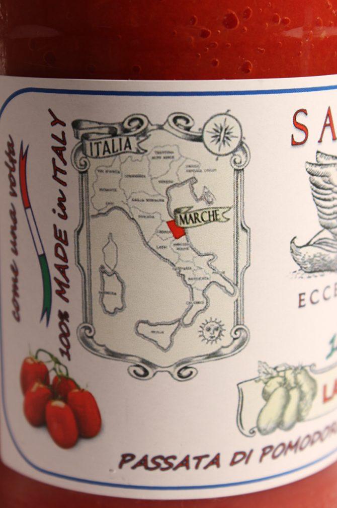 Etichetta laterale della Passata di Pomodoro Conserva 500g - San Cesareo