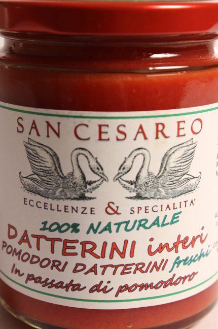 Etichetta della confezione di Datterini Interi in Passata di Pomodoro 290g - San Cesareo