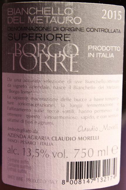 Etichetta posteriore del vino Borgo Torre, Bianchello del Metauro dell'azienda agricola Claudio Morelli