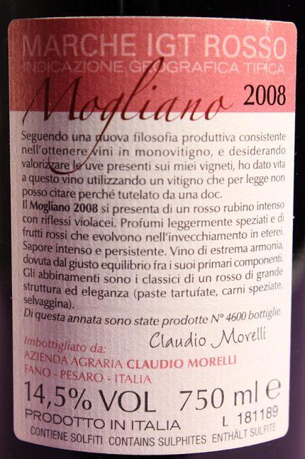 Etichetta posteriore del vino Mogliano, Marche Rosso IGT dell'azienda agricola Claudio Morelli
