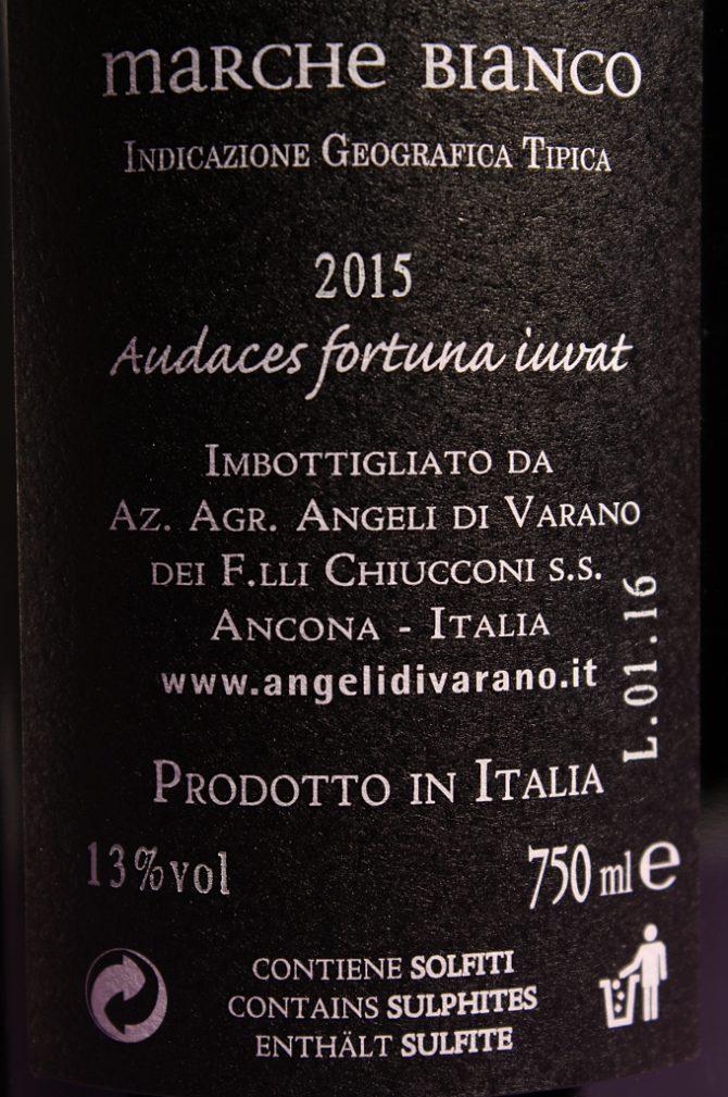 Etichetta posteriore del vino Fuorilegge, Marche Bianco IGT prodotto dall'azienda agricola Angeli di Varano