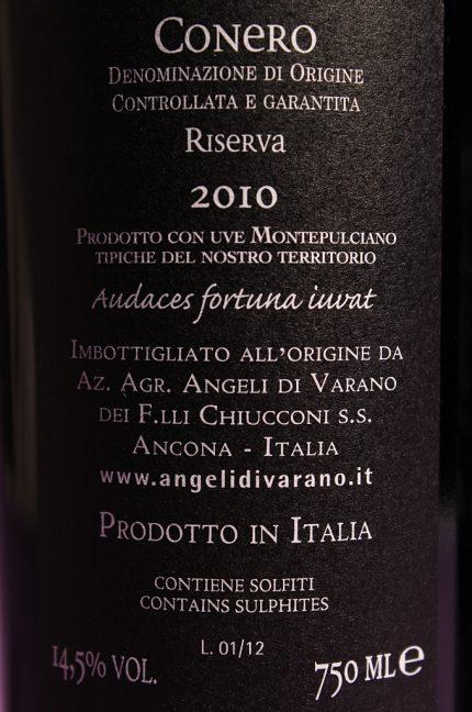 Etichetta posteriore del vino Stile Libero, Conero DOCG riserva dell'azienda agricola Angeli di Varano